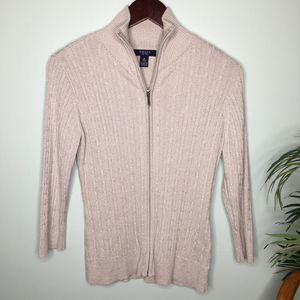 3/$20 Chaps Silver Cable Knit Sweater Small